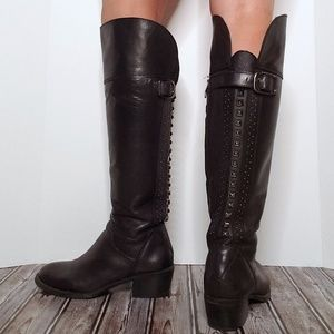 Vince Camuto Studded Black Leather Buckle Boots